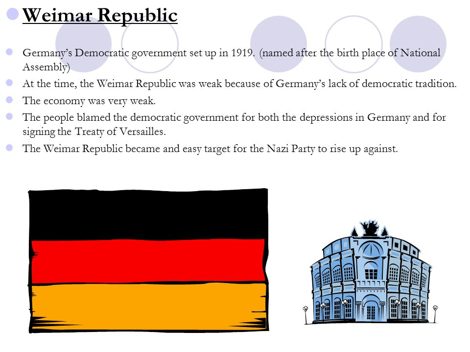 Weimar Republic Germany's Democratic government set up in 1919.