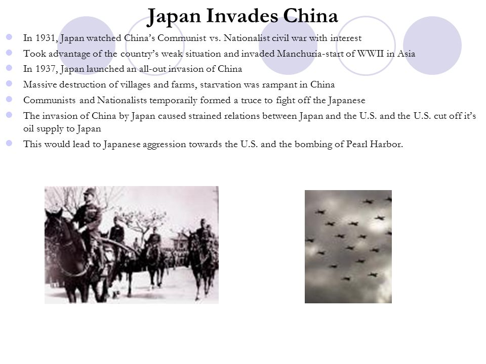 Japan Invades China In 1931, Japan watched China's Communist vs.