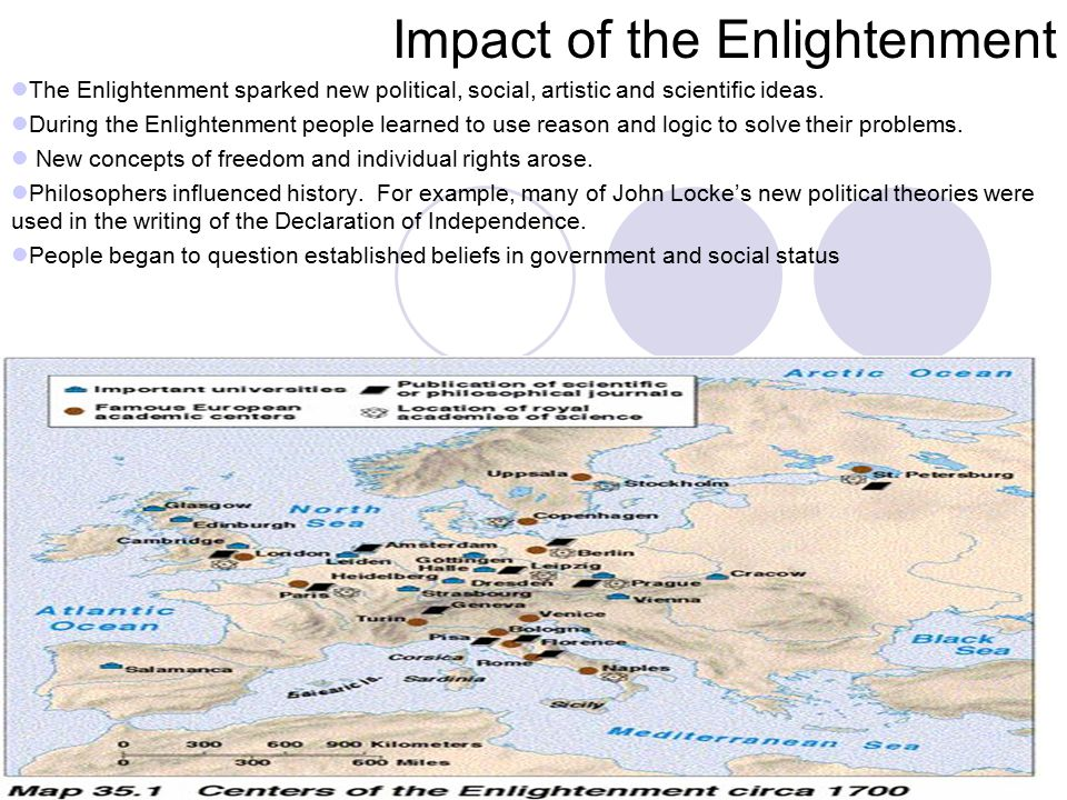 Impact of the Enlightenment The Enlightenment sparked new political, social, artistic and scientific ideas.