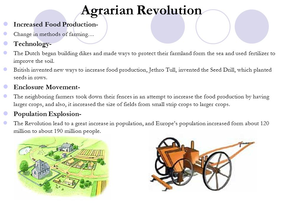 Agrarian Revolution Increased Food Production- Change in methods of farming… Technology- The Dutch began building dikes and made ways to protect their farmland form the sea and used fertilizer to improve the soil.