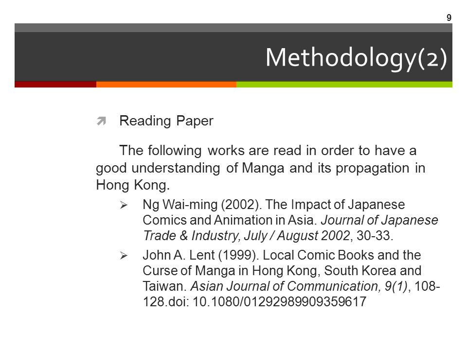 Methodology(2)  Reading Paper The following works are read in order to have a good understanding of Manga and its propagation in Hong Kong.  Ng Wai-