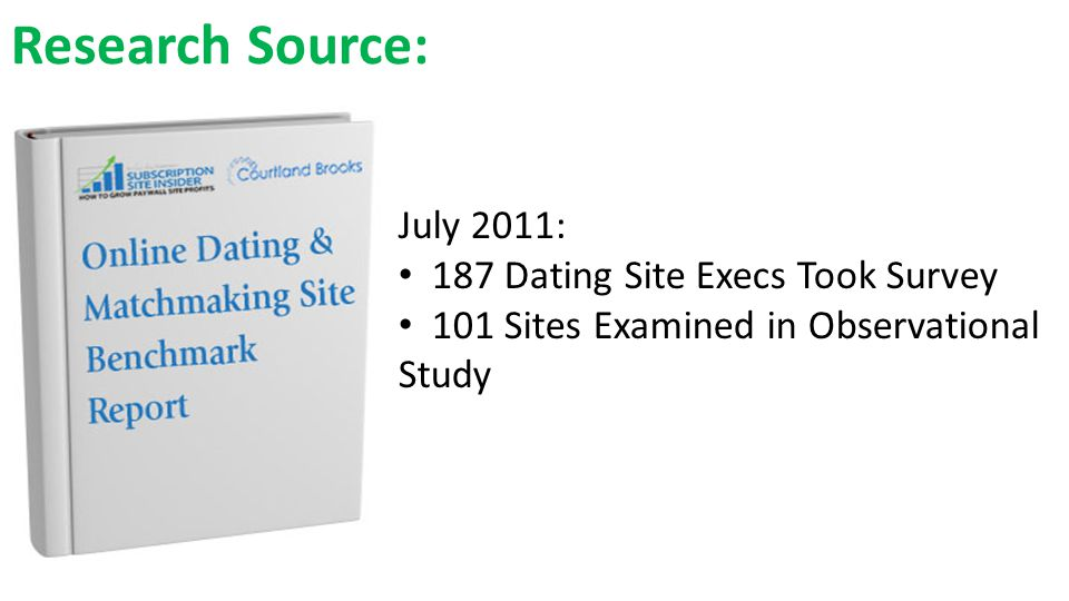 Research Source: July 2011: 187 Dating Site Execs Took Survey 101 Sites Examined in Observational Study