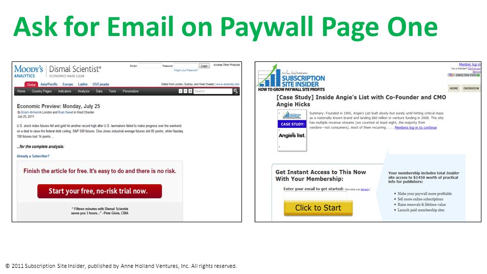 Ask for Email on Paywall Page One © 2011 Subscription Site Insider, published by Anne Holland Ventures, Inc.
