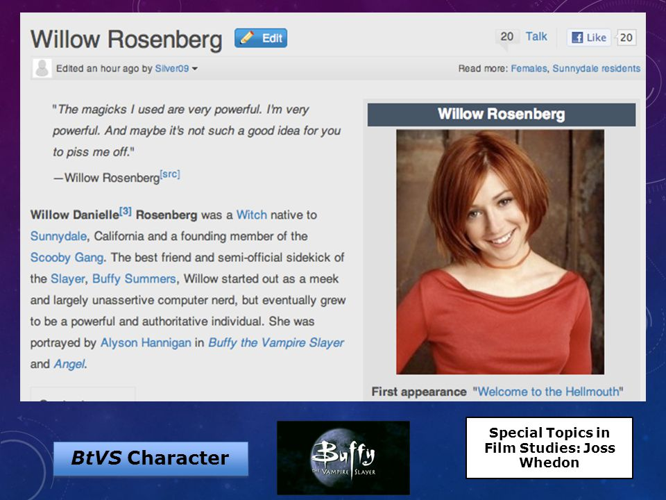 BtVS Character Special Topics in Film Studies: Joss Whedon