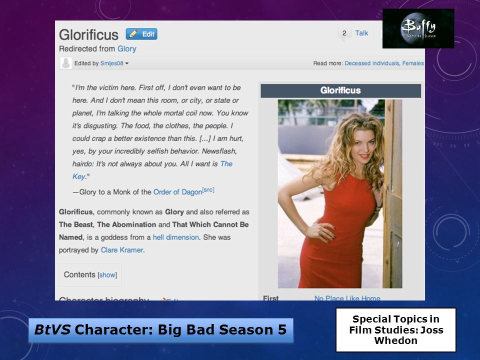 BtVS Character: Big Bad Season 5 Special Topics in Film Studies: Joss Whedon