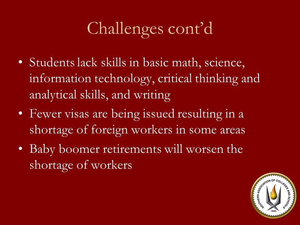 Challenges cont'd Expanding global competition Changes in American labor markets Exploding growth of knowledge Innovations in technology Increased Demands for higher skills