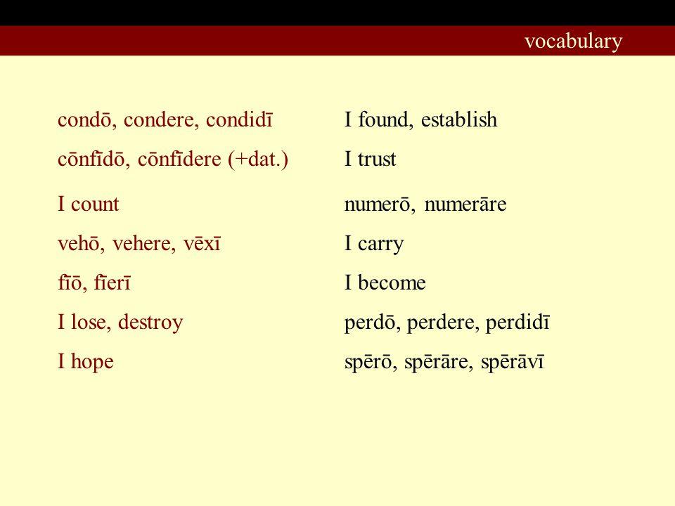 condō, condere, condidī I found, establish cōnfīdō, cōnfīdere (+dat.) vehō, vehere, vēxī I count fīō, fīerī I lose, destroy I hope I trust numerō, numerāre I carry I become perdō, perdere, perdidī spērō, spērāre, spērāvī vocabulary