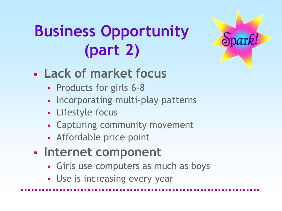 Business Opportunity (part 2)  Lack of market focus  Products for girls 6-8  Incorporating multi-play patterns  Lifestyle focus  Capturing community movement  Affordable price point  Internet component  Girls use computers as much as boys  Use is increasing every year