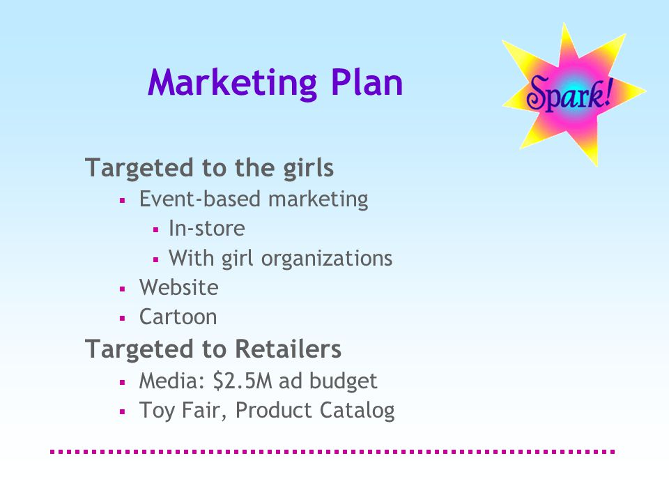 Marketing Plan Targeted to the girls  Event-based marketing  In-store  With girl organizations  Website  Cartoon Targeted to Retailers  Media: $2.5M ad budget  Toy Fair, Product Catalog