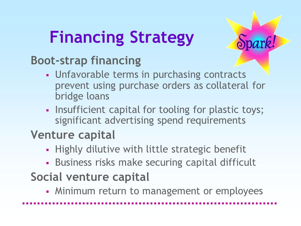 Financing Strategy Boot-strap financing  Unfavorable terms in purchasing contracts prevent using purchase orders as collateral for bridge loans  Insufficient capital for tooling for plastic toys; significant advertising spend requirements Venture capital  Highly dilutive with little strategic benefit  Business risks make securing capital difficult Social venture capital  Minimum return to management or employees