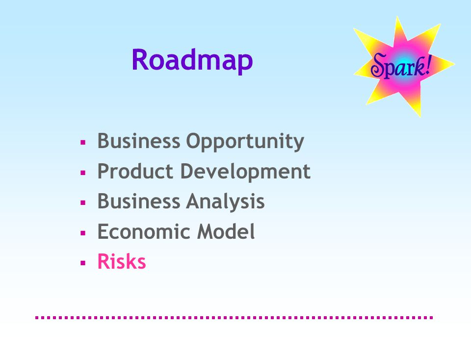Roadmap  Business Opportunity  Product Development  Business Analysis  Economic Model  Risks