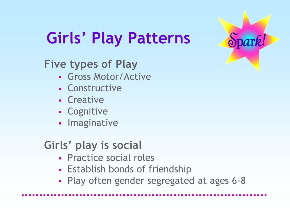 Girls' Play Patterns Five types of Play  Gross Motor/Active  Constructive  Creative  Cognitive  Imaginative Girls' play is social  Practice social roles  Establish bonds of friendship  Play often gender segregated at ages 6-8