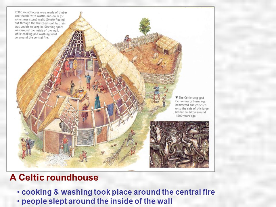 cooking & washing took place around the central fire people slept around the inside of the wall A Celtic roundhouse