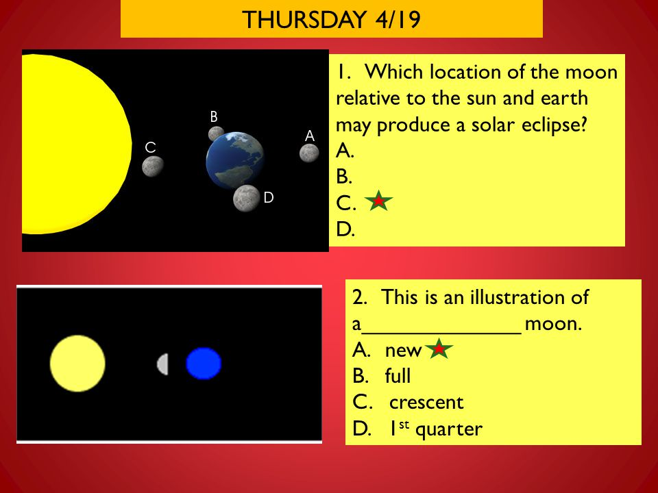 THURSDAY 4/19 1. Which location of the moon relative to the sun and earth may produce a solar eclipse? A. B. C. D. 2. This is an illustration of a____