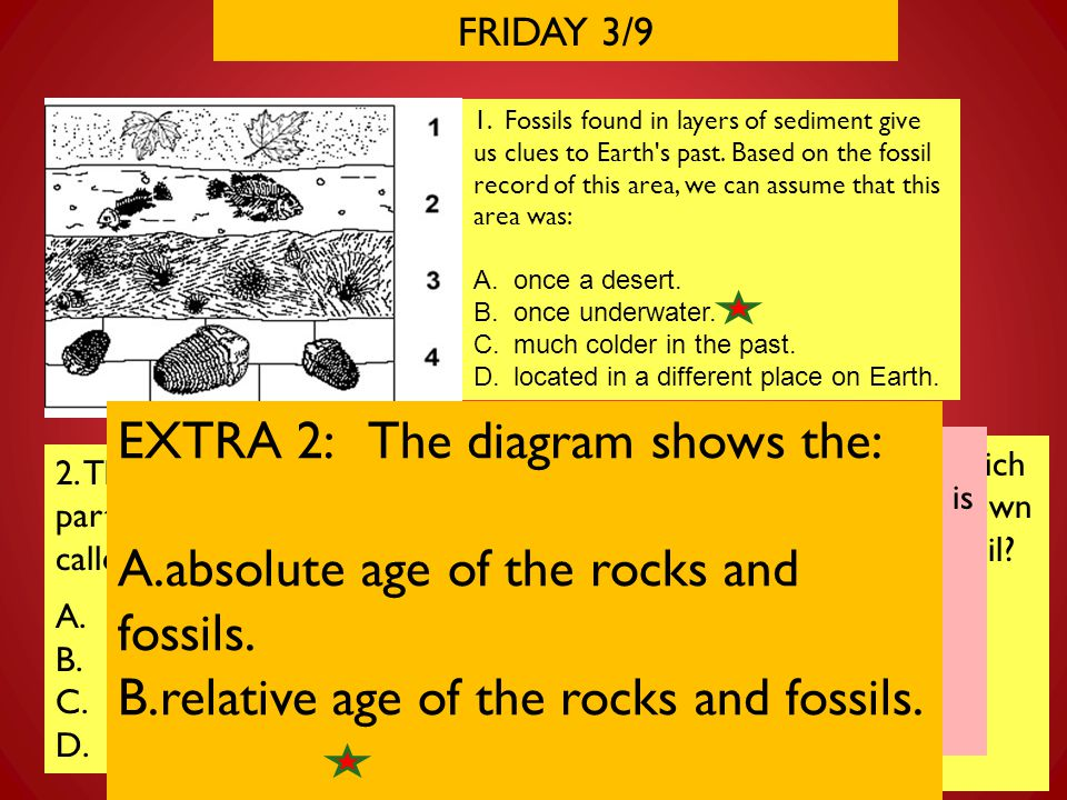 FRIDAY 3/9 1. Fossils found in layers of sediment give us clues to Earth's past. Based on the fossil record of this area, we can assume that this area