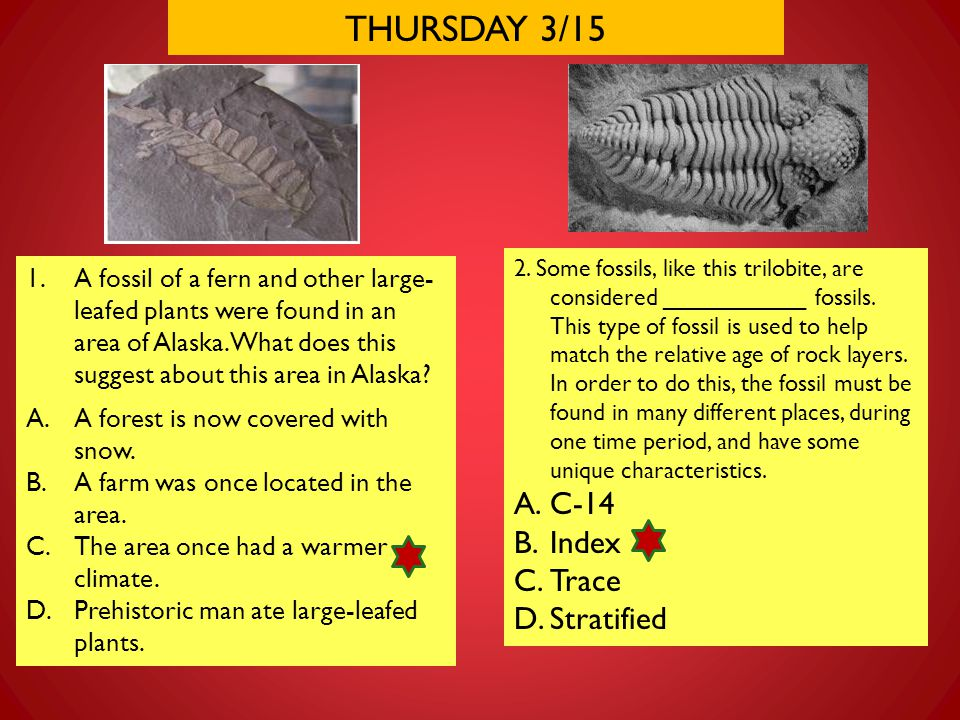 THURSDAY 3/15 2. Some fossils, like this trilobite, are considered ___________ fossils. This type of fossil is used to help match the relative age of