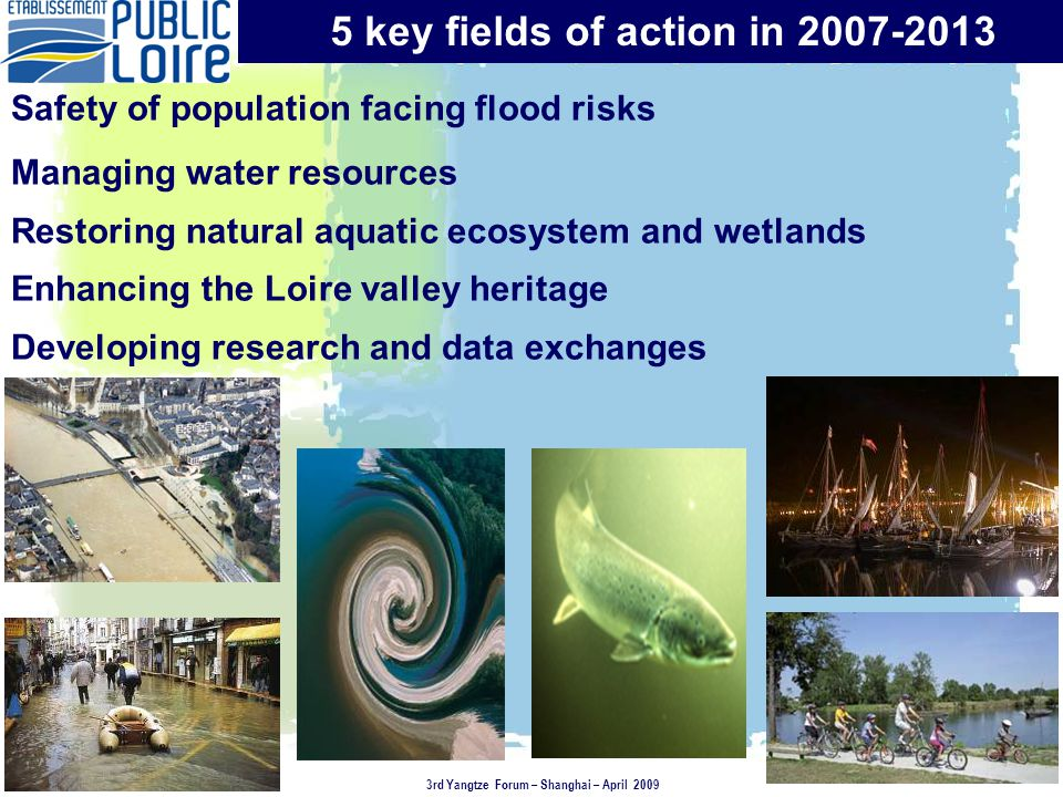Safety of population facing flood risks Managing water resources Restoring natural aquatic ecosystem and wetlands Enhancing the Loire valley heritage Developing research and data exchanges 5 key fields of action in 2007-2013 3rd Yangtze Forum – Shanghai – April 2009
