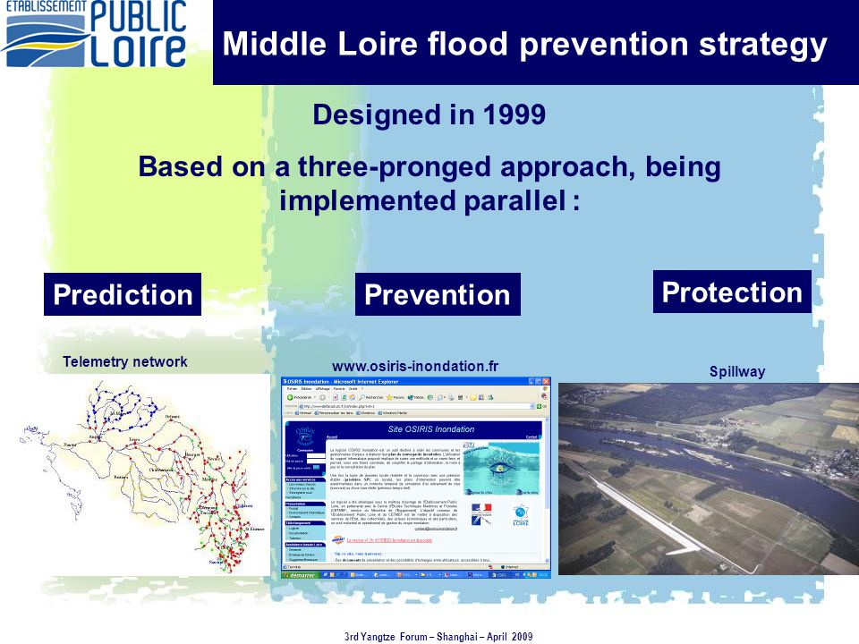 Middle Loire flood prevention strategy Designed in 1999 Based on a three-pronged approach, being implemented parallel : Telemetry network PredictionPrevention Protection Spillway www.osiris-inondation.fr 3rd Yangtze Forum – Shanghai – April 2009