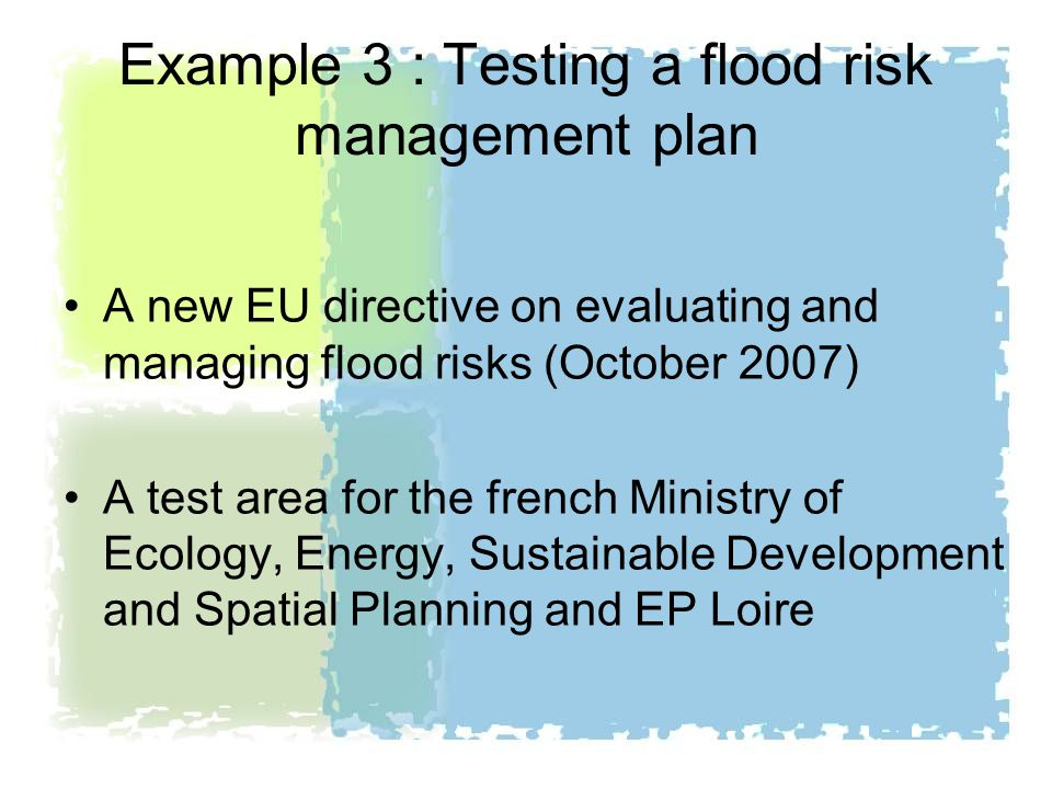 Example 3 : Testing a flood risk management plan A new EU directive on evaluating and managing flood risks (October 2007) A test area for the french Ministry of Ecology, Energy, Sustainable Development and Spatial Planning and EP Loire