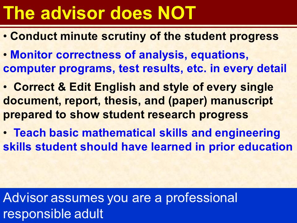 23 The advisor does NOT Conduct minute scrutiny of the student progress Monitor correctness of analysis, equations, computer programs, test results, etc.