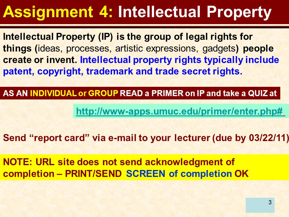 3 Assignment 4: Intellectual Property Intellectual Property (IP) is the group of legal rights for things (ideas, processes, artistic expressions, gadgets) people create or invent.