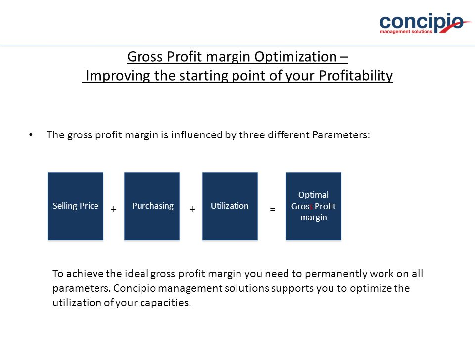 Gross Profit margin Optimization – Improving the starting point of your Profitability The gross profit margin is influenced by three different Parameters: Selling Price To achieve the ideal gross profit margin you need to permanently work on all parameters.