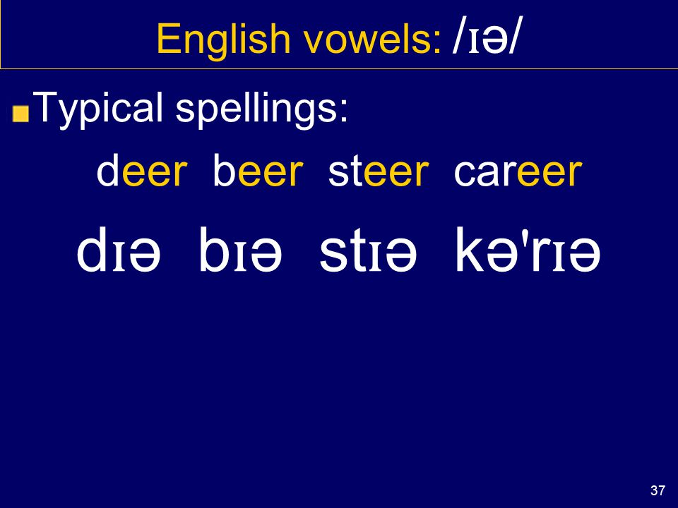 36 English vowels: / ɪ ə/ Typical spellings: NEAR fear tear beard ('drop of liquid') n ɪ ə f ɪ ə t ɪ ə b ɪ əd