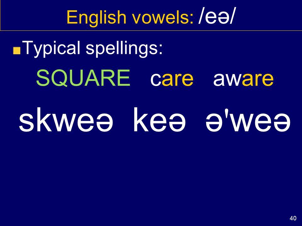 39 English vowels: / ɪ ə/ Sometimes without idea aɪ'dɪəaɪ'dɪə