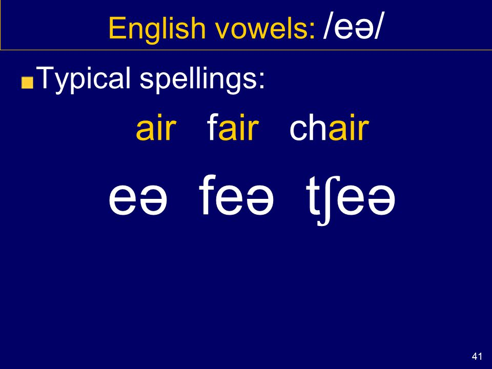 40 English vowels: /eə/ Typical spellings: SQUARE care aware skweə keə ə weə