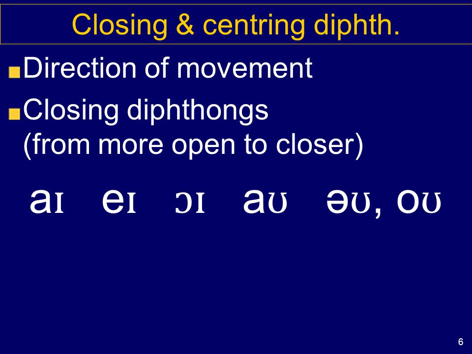 5 Diphthongs: falling & rising Prominence (=importance) falls or rises Rising vs falling diphthongs ju: vs a ɪ more important