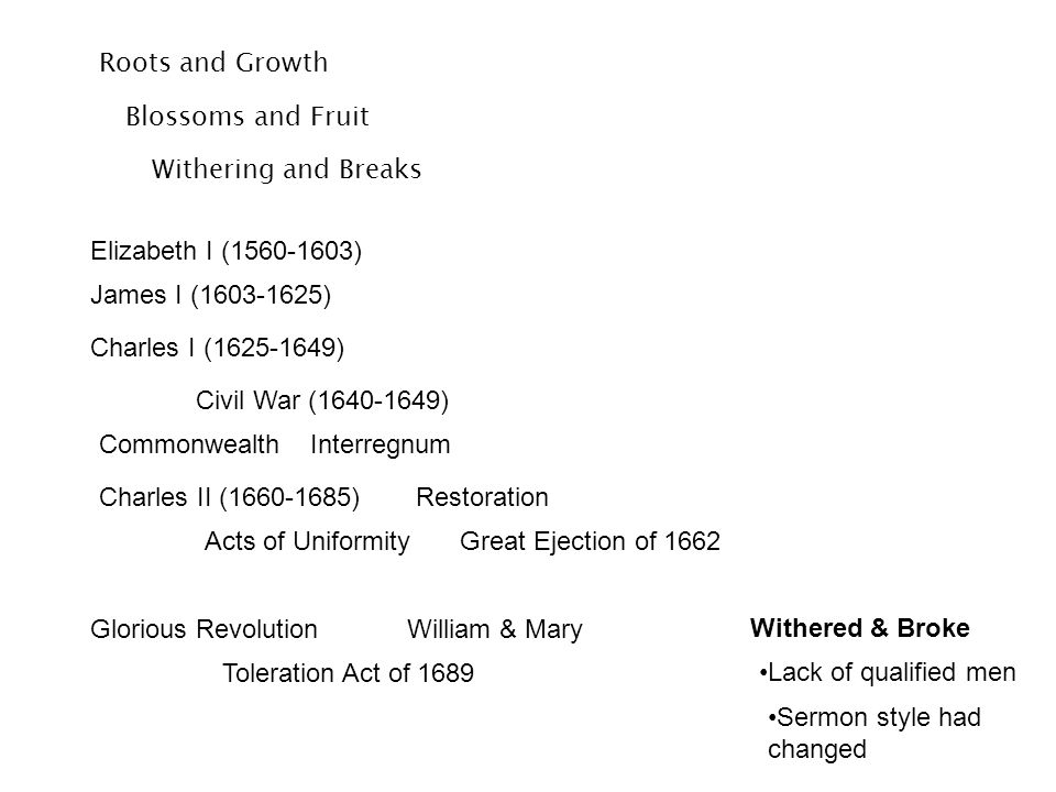 Roots and Growth Elizabeth I (1560-1603) James I (1603-1625) Charles I (1625-1649) Blossoms and Fruit Withering and Breaks Civil War (1640-1649) Commo