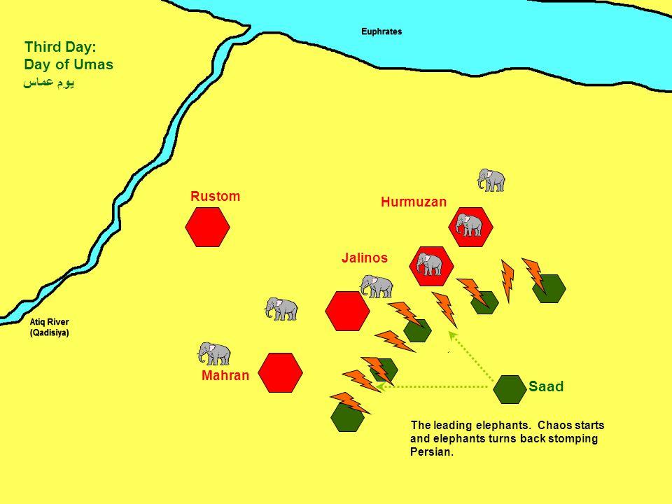 Mahran Jalinos Hurmuzan Rustom Saad Third Day: Day of Umas يوم عماس ِ The leading elephants.