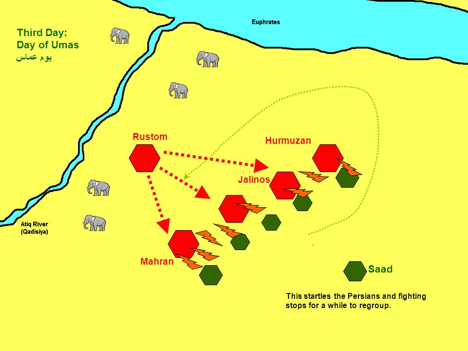 Mahran Jalinos Hurmuzan Rustom Saad Third Day: Day of Umas يوم عماس ِ This startles the Persians and fighting stops for a while to regroup.
