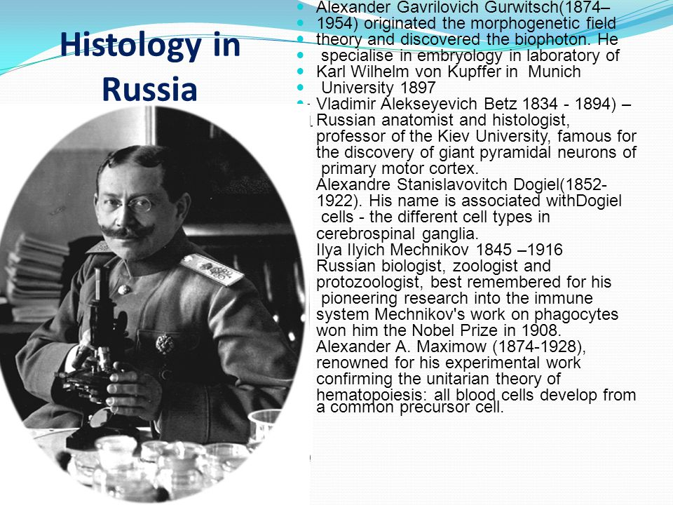 Histology in Russia Alexander Gavrilovich Gurwitsch(1874– 1954) originated the morphogenetic field theory and discovered the biophoton.