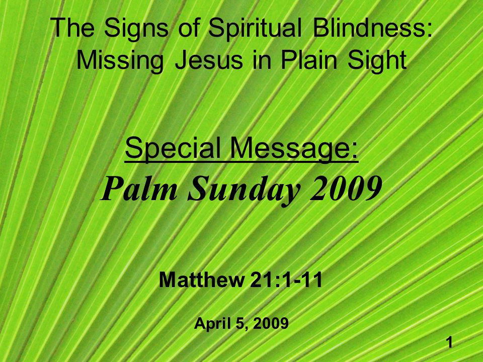 1 The Signs of Spiritual Blindness: Missing Jesus in Plain Sight Special Message: Palm Sunday 2009 Matthew 21:1-11 April 5, 2009