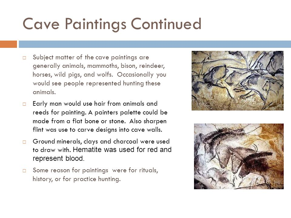 Cave Paintings Continued  Subject matter of the cave paintings are generally animals, mammoths, bison, reindeer, horses, wild pigs, and wolfs.