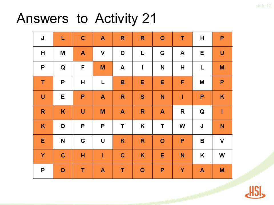 slide 12 Answers to Activity 21 JLCARROTHP HMAVDLGAEU PQFMAINHLM TPHLBEEFMP UEPARSNIPK RKUMARARQI KOPPTKTWJN ENGUKROPBV YCHICKENKW POTATOPYAM