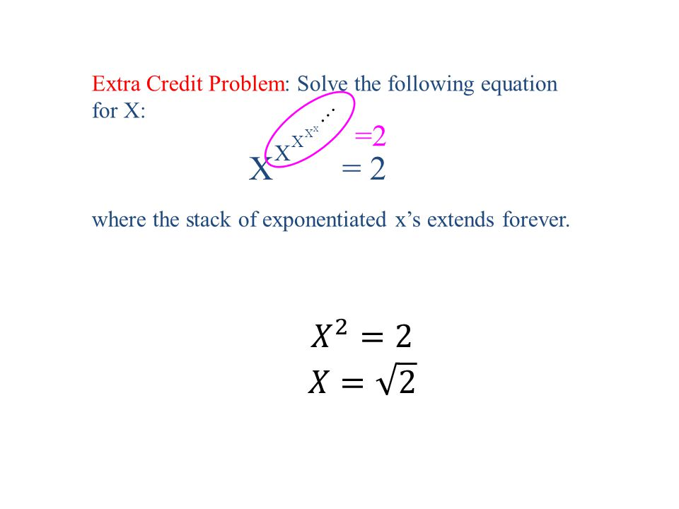 X = 2 X X X X … Extra Credit Problem: Solve the following equation for X: where the stack of exponentiated x's extends forever.