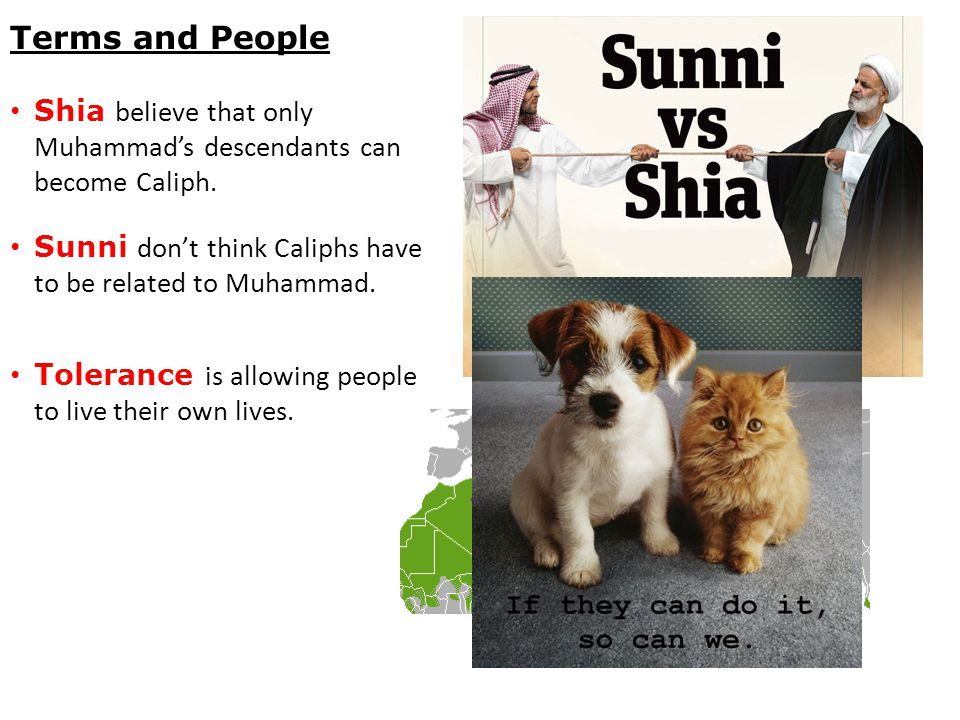 Terms and People Shia believe that only Muhammad's descendants can become Caliph. Sunni don't think Caliphs have to be related to Muhammad. Tolerance