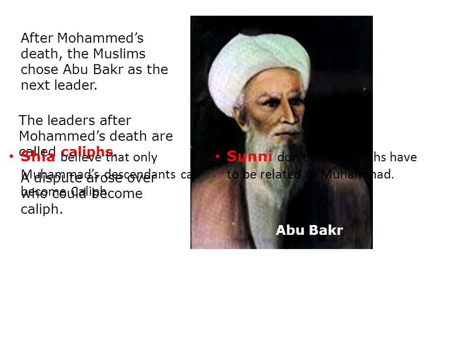 After Mohammed's death, the Muslims chose Abu Bakr as the next leader.
