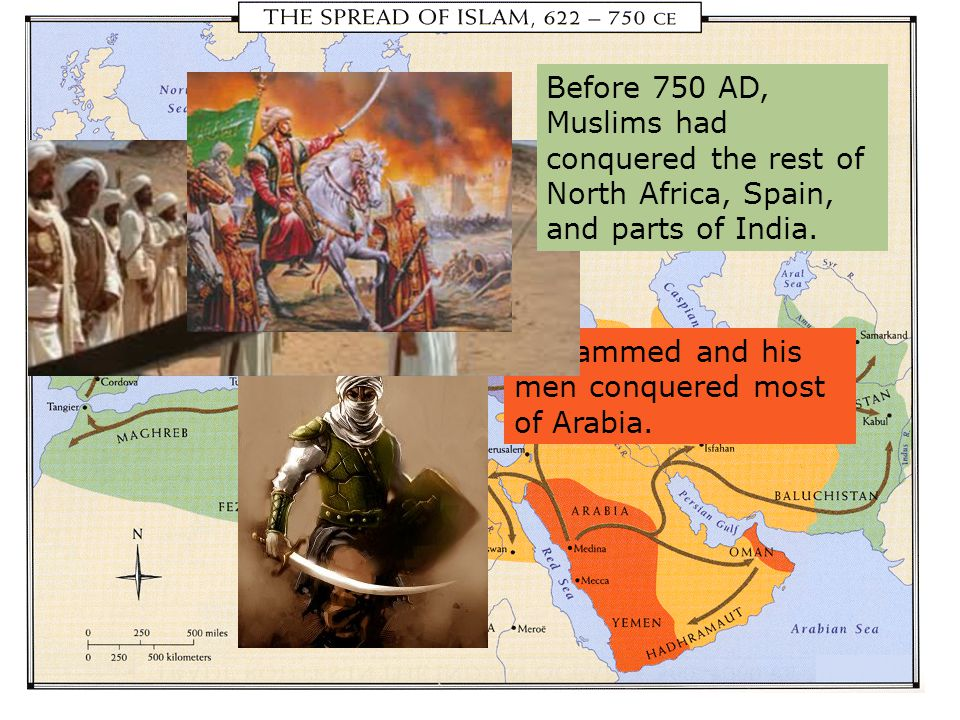 Mohammed and his men conquered most of Arabia. The next four caliphs conquered Egypt, Mesopotamia, and Persia. Before 750 AD, Muslims had conquered th