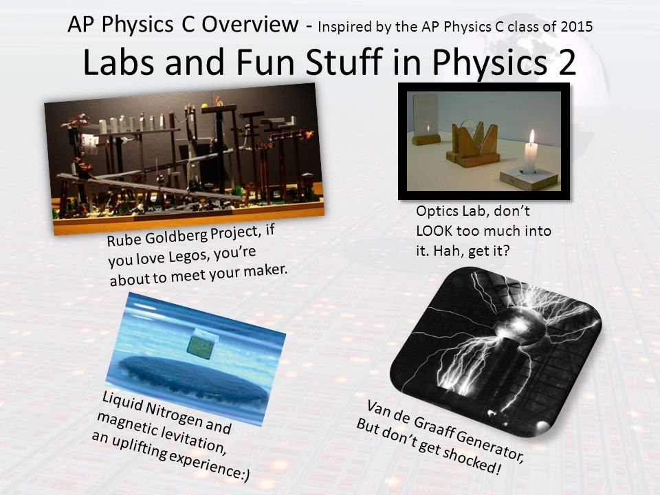 Labs and Fun Stuff in Physics 2 AP Physics C Overview - Inspired by the AP Physics C class of 2015 Rube Goldberg Project, if you love Legos, you're about to meet your maker.