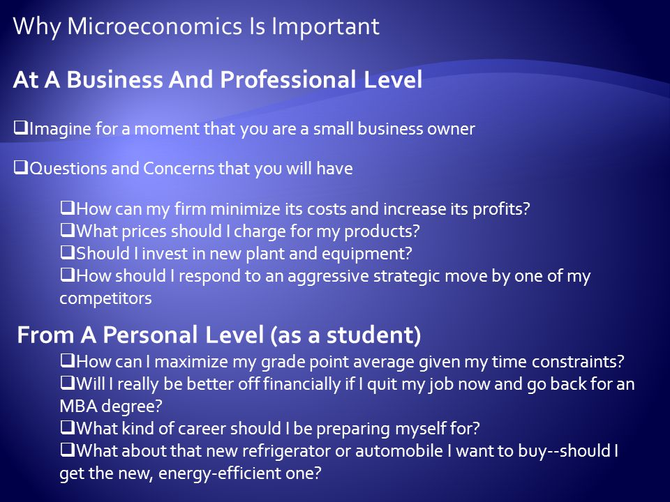  The word micro means small, and microeconomics focuses on the behavior of individual markets and the smaller individual units that make up the broader economy -- businesses, consumers, investors, and workers.