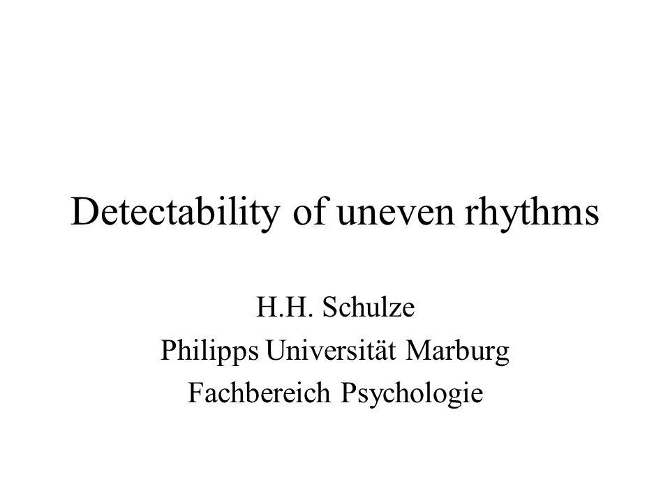 Detectability of uneven rhythms H.H. Schulze Philipps Universität Marburg Fachbereich Psychologie