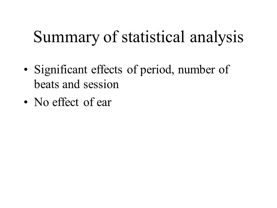 Summary of statistical analysis Significant effects of period, number of beats and session No effect of ear