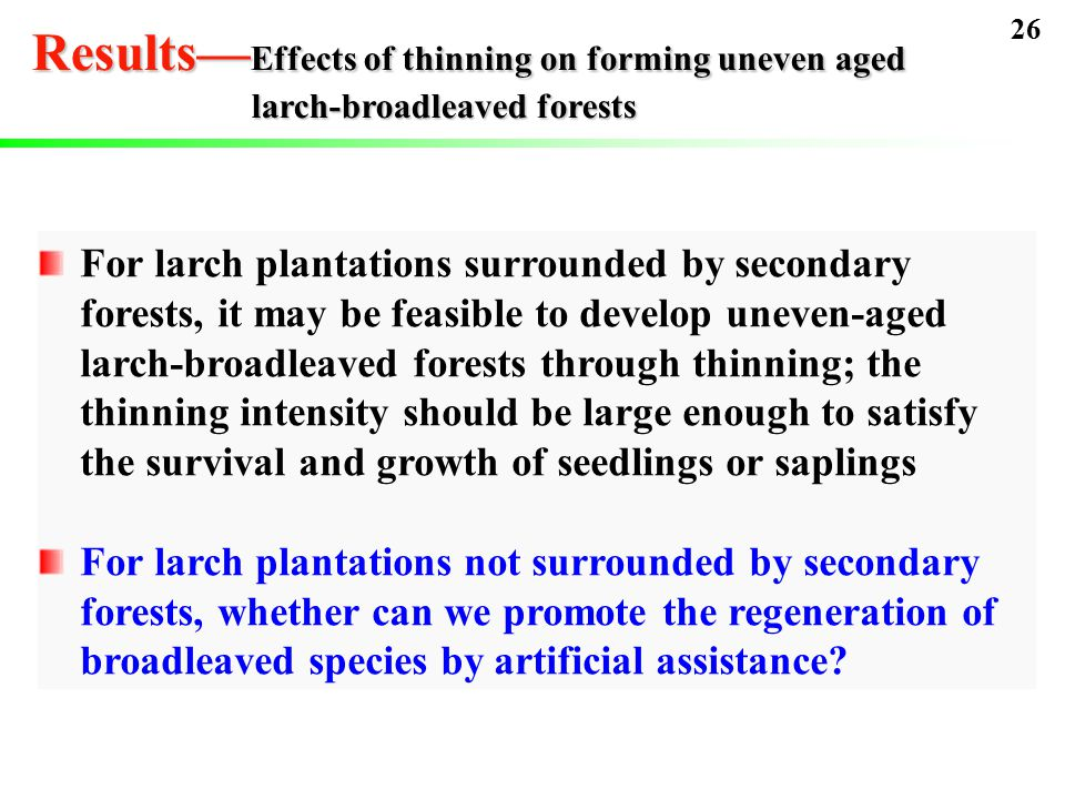 For larch plantations surrounded by secondary forests, it may be feasible to develop uneven-aged larch-broadleaved forests through thinning; the thinning intensity should be large enough to satisfy the survival and growth of seedlings or saplings For larch plantations not surrounded by secondary forests, whether can we promote the regeneration of broadleaved species by artificial assistance.
