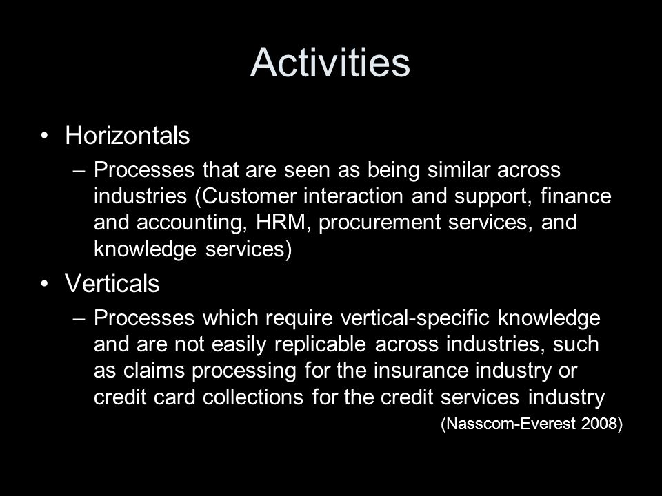 Activities Horizontals –Processes that are seen as being similar across industries (Customer interaction and support, finance and accounting, HRM, procurement services, and knowledge services) Verticals –Processes which require vertical-specific knowledge and are not easily replicable across industries, such as claims processing for the insurance industry or credit card collections for the credit services industry (Nasscom-Everest 2008)