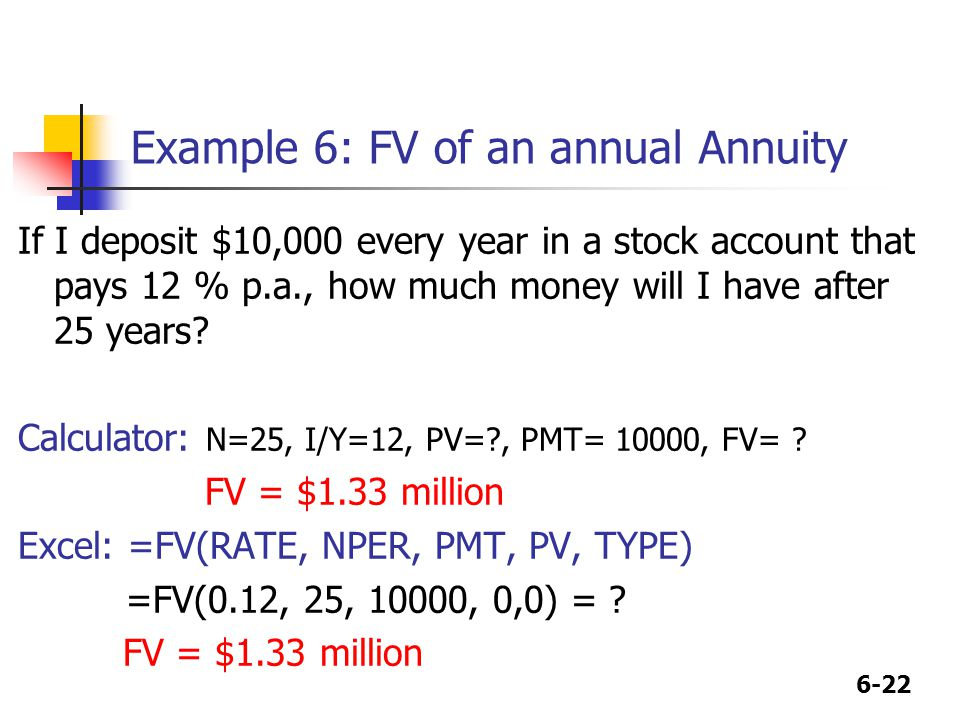 6-22 Example 6: FV of an annual Annuity If I deposit $10,000 every year in a stock account that pays 12 % p.a., how much money will I have after 25 years.