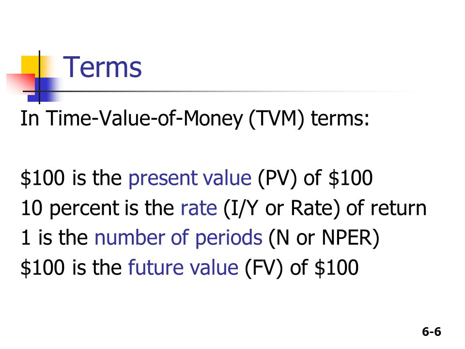 6-6 Terms In Time-Value-of-Money (TVM) terms: $100 is the present value (PV) of $100 10 percent is the rate (I/Y or Rate) of return 1 is the number of periods (N or NPER) $100 is the future value (FV) of $100