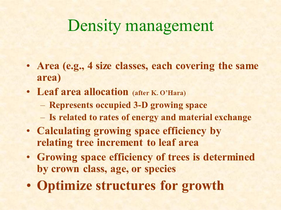 Density management Area (e.g., 4 size classes, each covering the same area) Leaf area allocation (after K.
